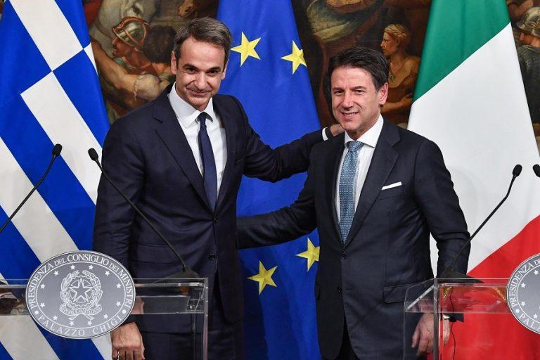 Μητσοτάκης- Κόντε: Συμμαχία Ελλάδας- Ιταλίας σε οικονομία και μεταναστευτικό