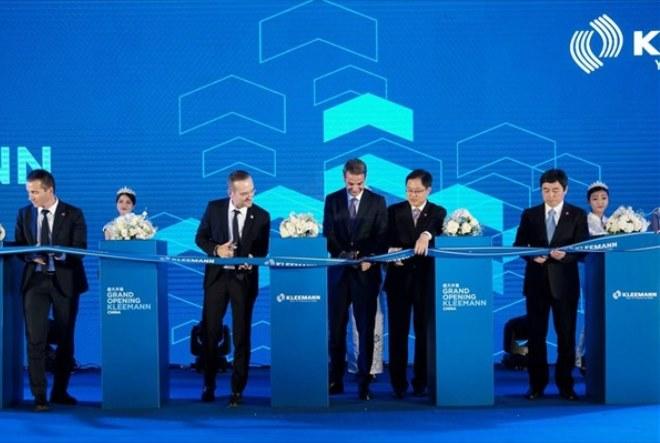 Eγκαίνια για το εργοστάσιο ανελκυστήρων της Kleemann στην Κίνα παρουσία του Κυριάκου Μητσοτάκη