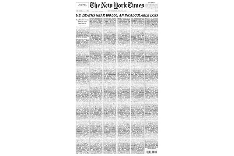 Στη μνήμη 1.000 θυμάτων του κορωνοϊού το πρωτοσέλιδο των New York Times