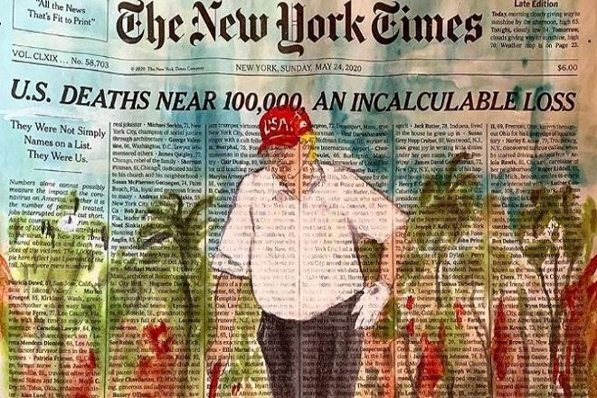 Μαζική διαμαρτυρία καλλιτεχνών: Ζωγράφισαν τον Τραμπ να παίζει γκολφ στο πρωτοσέλιδο των NYT με τα ονόματα των νεκρών από κορωνοϊό