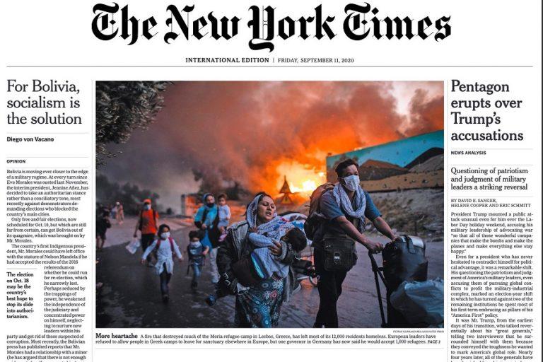 «Το τέλος της Μόριας»: Η ανατριχιαστική φωτογραφία Έλληνα φωτογράφου έγινε πρωτοσέλιδο στους New York Times
