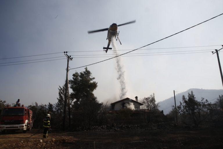 Σε ύφεση η φωτιά στην περιοχή Κάζα στα Βίλια Αττικής